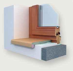 Obrázek dřevotřískového parapetu u okna