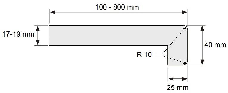 techický nákres - parapet z dřevotřísky CLASSIC